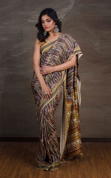 Printed Semi Pashmina Saree in Beige and Brown