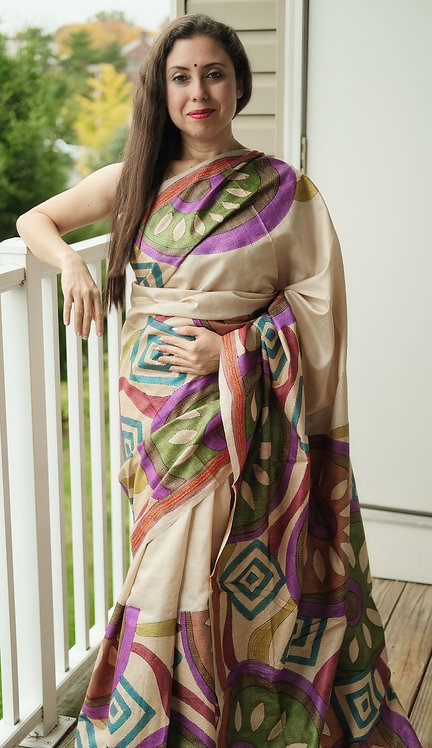 Exclusive Hand Painted and Hand Embroidered Kantha Stitched Saree on Pure Tussar