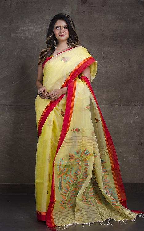 Premium Quality Jamdani Silk Saree in Light Yellow and Red