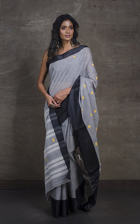 Bengal Handloom Cotton Saree with Starch in Gray, Black and Yellow