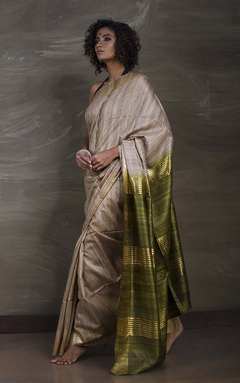 Pure Gicha Tussar Saree in Beige and Moss Green