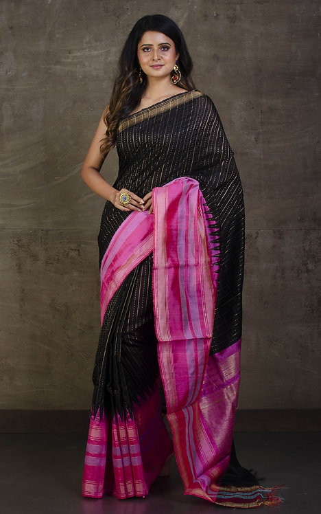 Pure Raw Silk with Wide Border Saree in Black and Pink
