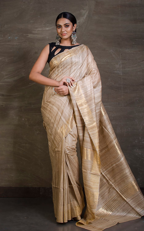 Pure Tussar Silk Saree in Beige and Gold