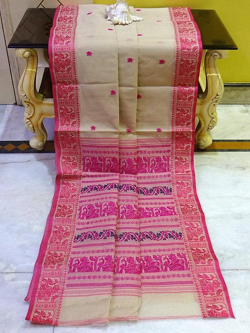Bengal Handloom Cotton Baluchari Saree with Starch in Muddy Beige, Pink & Blue