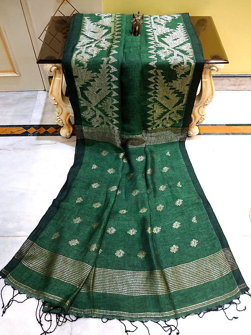 Linen Jamdani Saree in Pine Green and Antique Silver