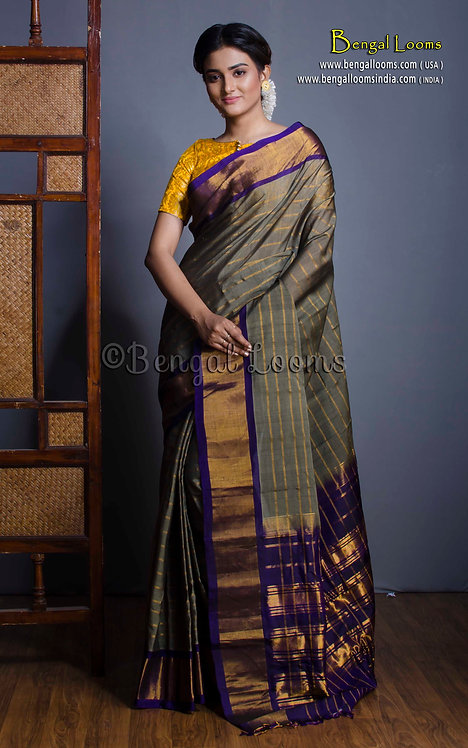 Gadwal Cotton Silk Saree in Gray and Blue