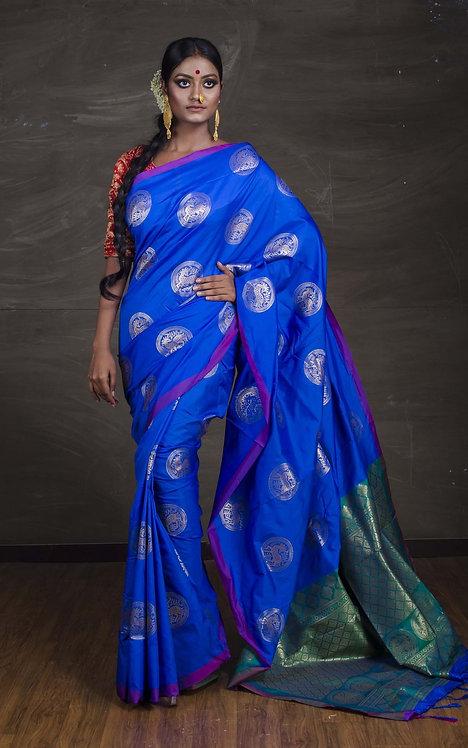 Art Silk Kanchipuram Saree in Blue and Green