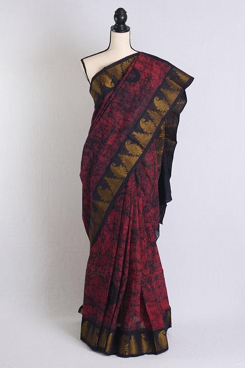 Hand Batik Pure Cotton Kanjivaram Saree in Maroon and Black