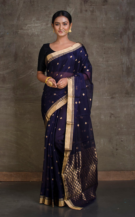 Chanderi Silk Cotton Saree in Dark Blue and Gold