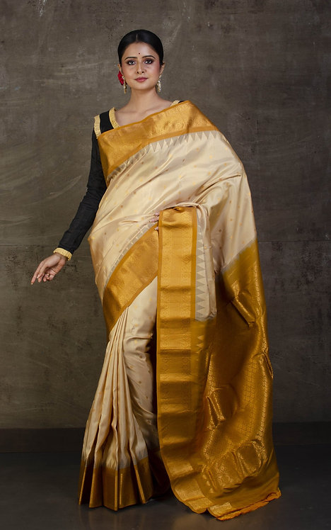Pure Gadwal Silk Saree in Beige and Mustard Yellow