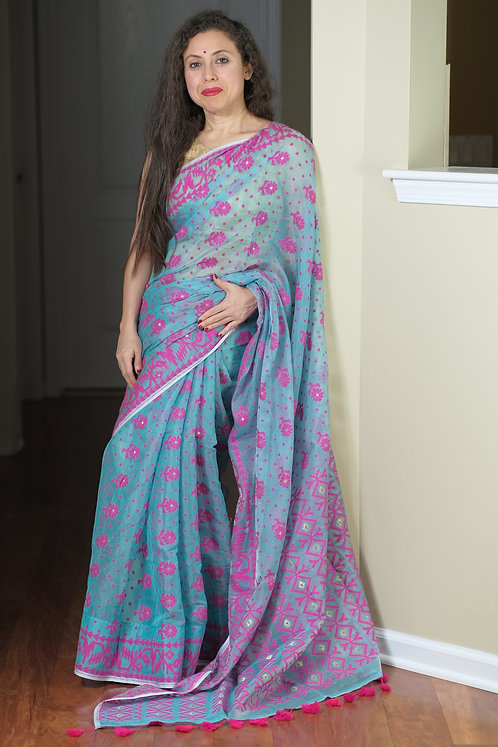 Soft Jamdani Saree in Sky Blue and Hot Pink
