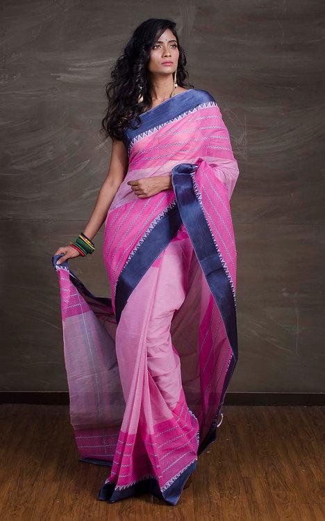 Bengal Handloom Cotton Saree in Pink