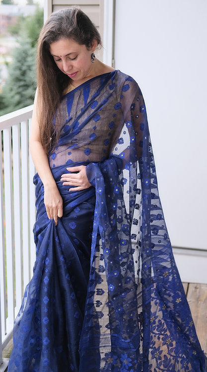 Soft Jamdani Saree in Dark Blue