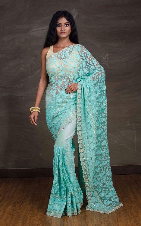 Designer Net Embroidery Saree in Sea Green