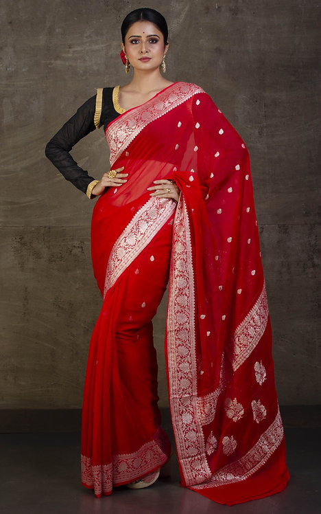 Pure Chiffon Banarasi Saree with in Red and Silver