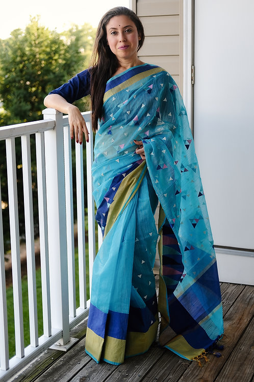 Embroidery Kota Saree in Sky Blue and Dark Blue