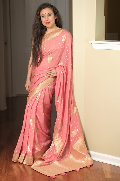 Pure Crepe Georgette Banarasi Saree in Baby Pink, Silver and Gold