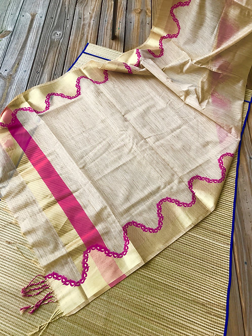 Cotton Silk Banarasi Dupatta Beige, Pink and Gold