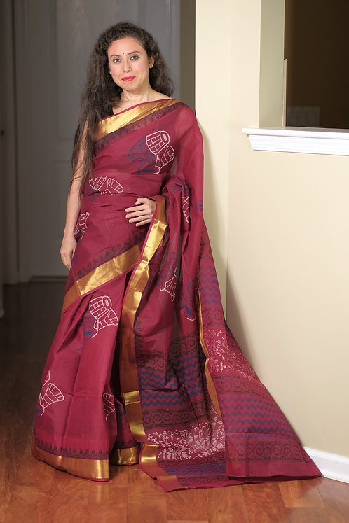 Block Printed Cotton Boutique Saree in Dark Red and Gold