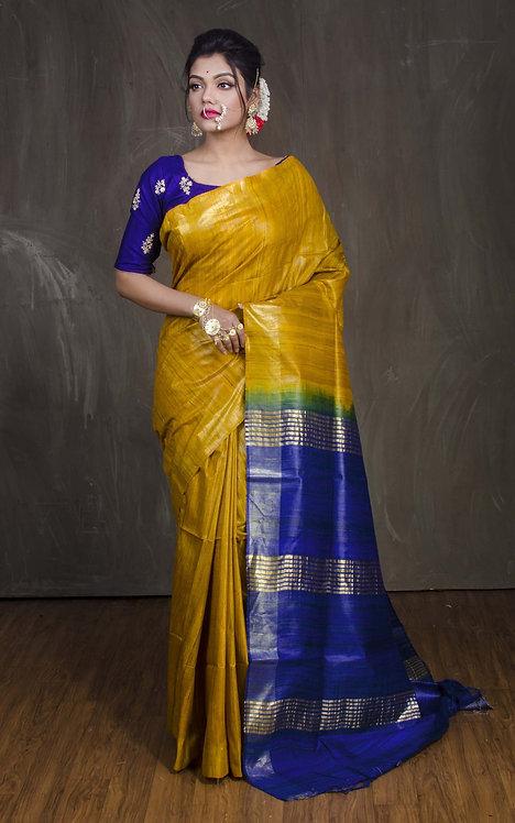 Pure Gicha Tussar Saree in Mustard Yellow and Blue