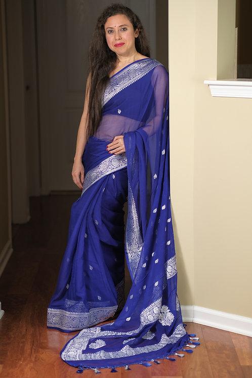 Pure Chiffon Banarasi Saree with Silver Zari in Indigo Blue