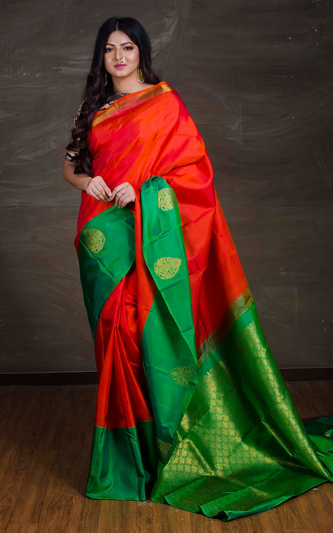 Exclusive Kanjivaram Silk Saree in Orange and Green