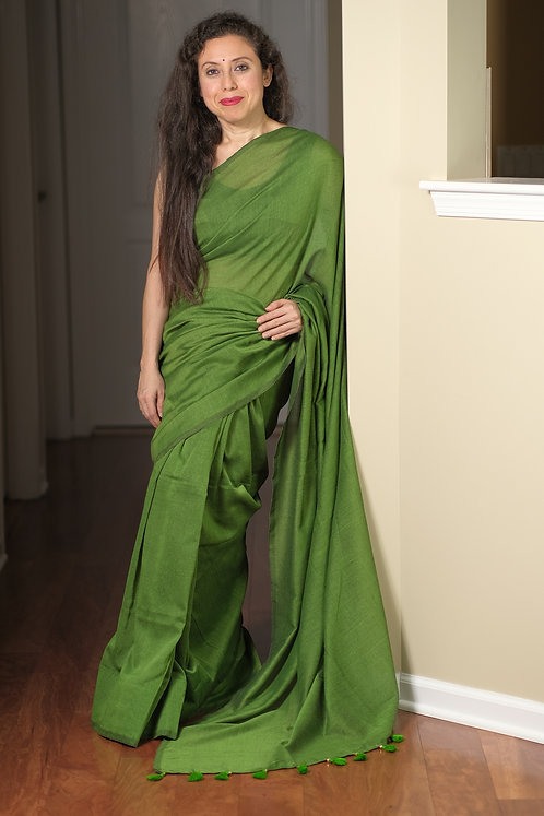 Soft Cotton Saree in Green