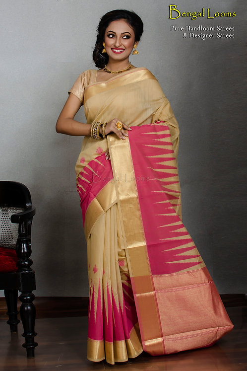 Temple Border Cotton Banarasi Saree in a Set of Two