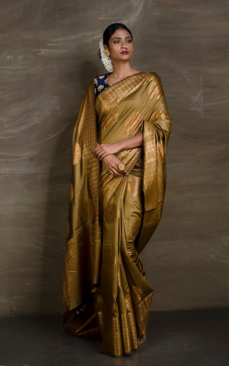 Pure Muga Tussar Banarasi Saree in English Brown and Antique Gold