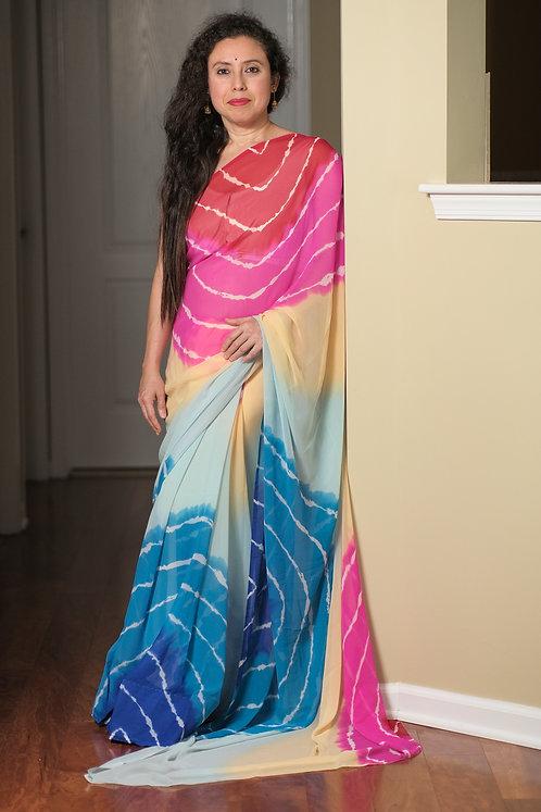 Leheriya Printed Chiffon Saree in Beige, Red, Pink and Blue