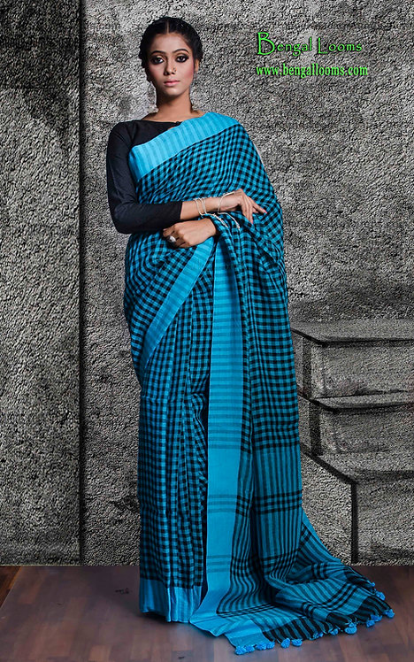 Gamcha Checks Linen Saree in Blue and Black