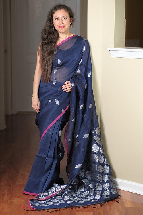 Pure Silk Linen Saree in Blue and Silver