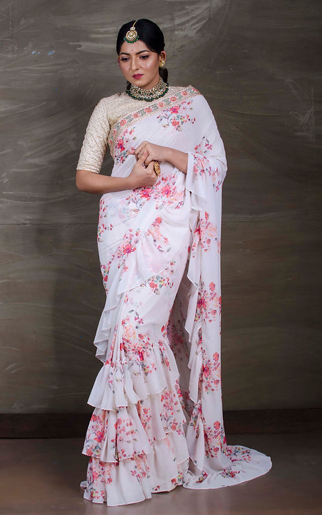 Exclusive Floral printed Chiffon Ruffle Saree with Embroidery Border