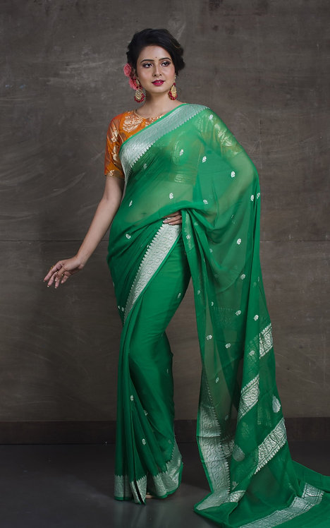 Pure Chiffon Banarasi Saree with in Forest Green and Silver