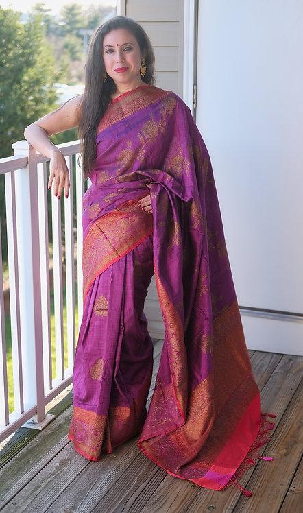 Pure Dupion Tussar Banarasi Saree in Purple, and Red