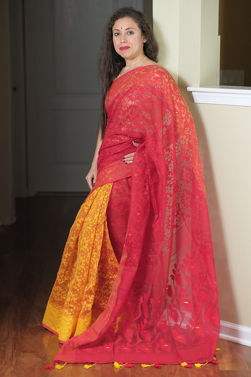 Half and Half Soft Jamdani Saree in Yellow and Red