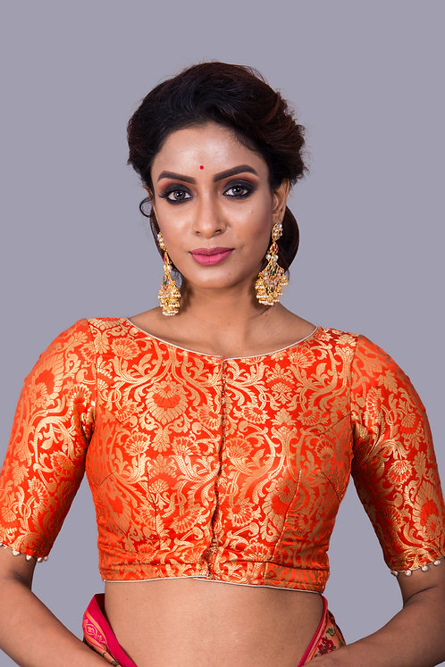 Orange Banarasi Designer Saree Blouse in Size 32