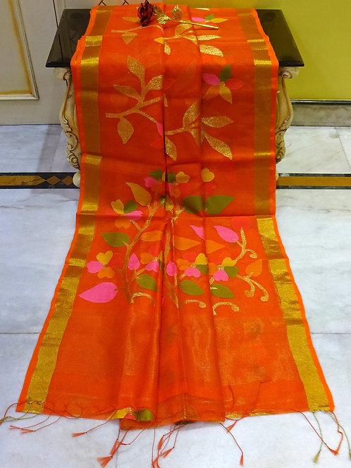 Muslin Jamdani Saree in Orange