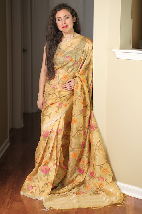 Exclusive Linen Embroidery Saree in Beige