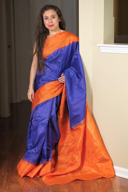 Gadwal Silk Saree with Checks in Blue and Orange