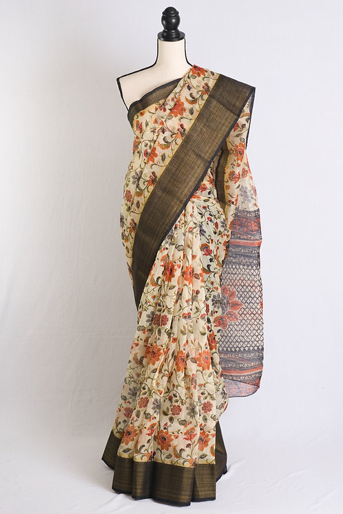 Printed Floral Blended Cotton Saree in Cream, Black and Gold