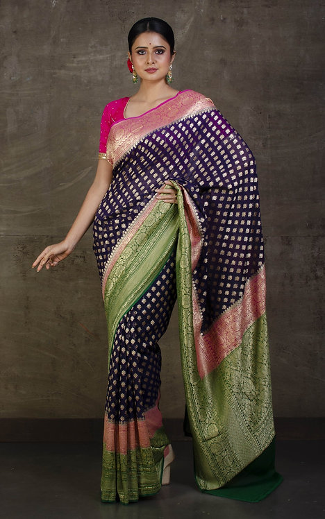 Pure Khaddi Georgette Banarasi Saree in Midnight Blue, Purplish Pink and Green