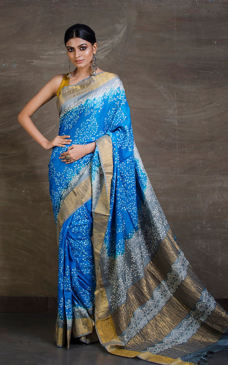 Printed Soft Tussar Silk Saree in Blue and Grey