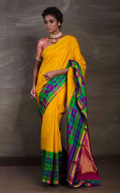 Kanchipuram Saree in Yellow with Checks Border