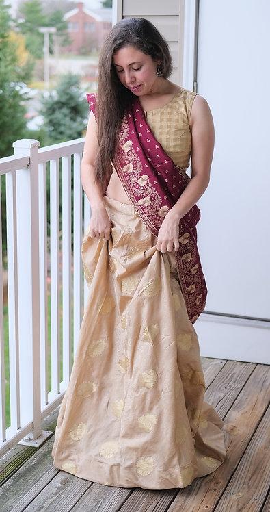 Banarasi Silk Flared Long Skirt in Beige and Gold