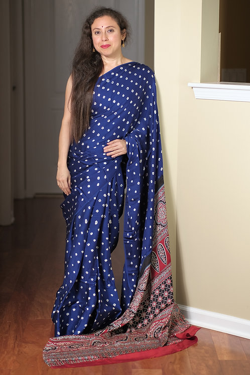 Bandhani with Ajrakh Hand block print on Modal silk in Blue and Red
