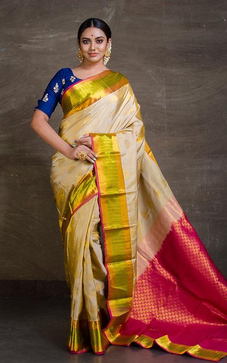 Pure Kanjivaram Silk Saree in Clay White and Magenta