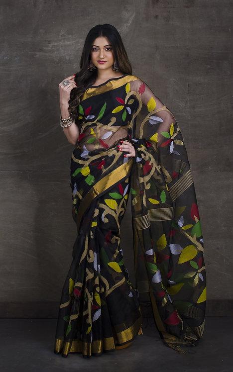 Muslin Jamdani Saree in Black and Gold