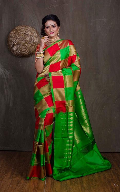 Checks Kanjivaram Saree in Red, Green and Gold