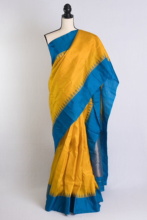 Pure Silk Gadwal Saree with Gold Zari Checks in Yellow and Blue